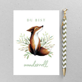 Fuchs sitzend – A6 Postkarte