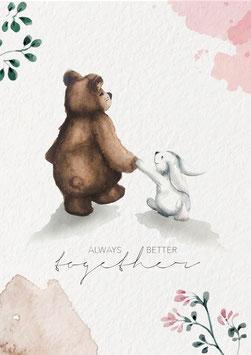 Hase und Bär - Aquarell Poster