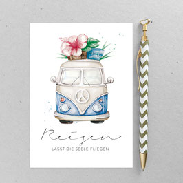 Hippie Bus – A6 Postkarte