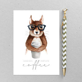 Postkarte - Coffee Eichhörnchen – Brille - A6