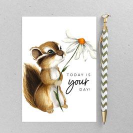 Postkarte - Streifenhörnchen