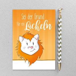 Leonie Löwenherz - Sei der Grund für ein Lächeln - A6 Postkarte