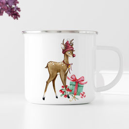 Emaille Tasse - Bambi - Weihnachten