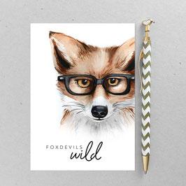 Fuch Brille – A6 Postkarte