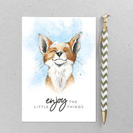 Postkarte - Winter Fuchs