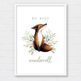 Poster | Du bist wundervoll | Fuchs