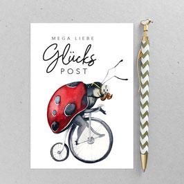 Postkarte - Mr Red - Marienkäfer