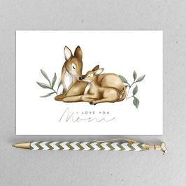 Reh Mutter und Bambi – A6 Postkarte