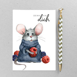 Postkarte - kuschel Maus