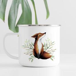 Emaille Tasse - Fuchs - wundervoll