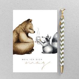 Bären Teaparty– A6 Postkarte