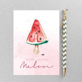 Melone – A6 Postkarte