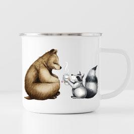 Emaille Becher - Bären