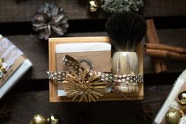 Geschenkset Weihnachten - Bambusseifenschale mit Rasierseife & Rasierpinsel