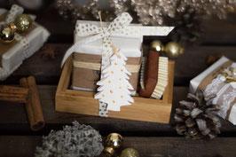 Geschenkset Weihnachten - 2 Seifen mit Seifenschale und Nagelbürste