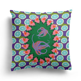 PILLOW »SURREAL PARTY WITH SHARKS«