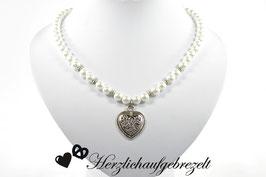 """Perlenkette """"Filigranes Herz"""""""