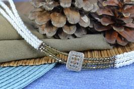 """Kropfband """"Gloans Fenster"""" - mit facettierten Perlen in grau"""