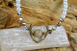 """Perlenkette """"Geweih"""" - Glitzerkugel - goldfarben"""