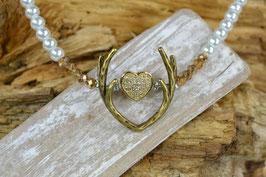 """Perlenkette """"Geweih"""" - mit mittigen Miniherzl - goldfarben"""