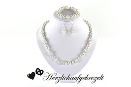 """Perlenschmuck """"Eiskristall"""" mit Halbedelsteinen"""