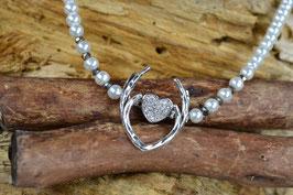 """Perlenkette """"Geweih"""" - mit mittigen Miniherzl - silberfarben"""