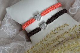 "Makramee-Armband ""Miniherzl"" in Wunschfarbe"