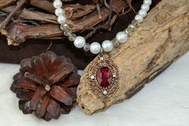 "Perlenkette ""Vintagetropfen"" - rot"