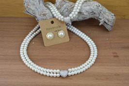 """Perlenkette """"Hochzeitsherzl"""" -zweireihig"""