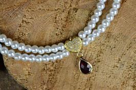 """Perlenkette """"Tropfenherz"""" - Goldfarben"""