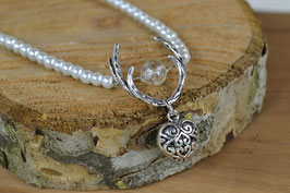 """Perlenkette """"Geweih"""" -  mit nostalgischen Herzanhänger"""
