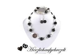 """Perlenschmuck """"Lavaplatte"""" mit echten Halbedelsteinen - Asymetrisch"""