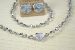 """Perlenkette """"Miniherzl"""" mit überkreuzter Kette"""