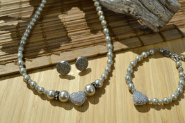 """Perlenkette """"Mein Herz"""" - Champagner"""