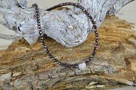"""Perlenkette """"Miniherz"""" - mit facettierten Perlen, in braun"""