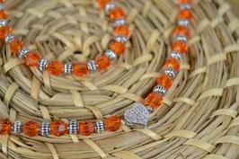 "Perlenkette ""Miniherzl"" - Orange facettiert"