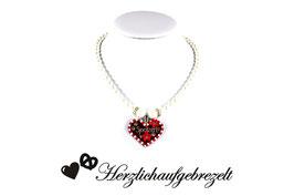 Lebkuchenherz-Perlenkette mit Wunschtext und in Wunschfarbe
