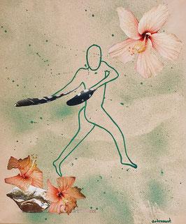 Featherdancer - Collage auf Keilrahmen