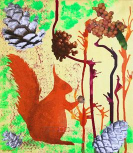 Eichhörnchen - Collage auf Keilrahmen