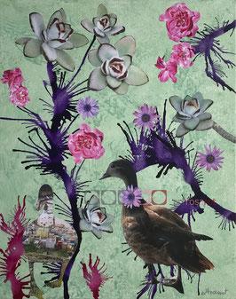 Ente - Collage auf Keilrahmen