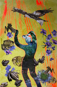 Krötenmann - Collage auf Keilrahmen