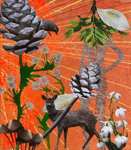 Ein Rehbock - Collage auf Keilrahmen