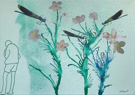 Libellen - Collage auf Keilrahmen