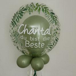 Bubble grüne Blätter  mit Wunschtext