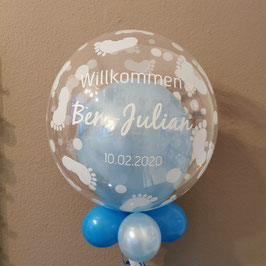 Bubble Babyfüße mit Wunschtext