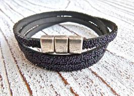 Wickelarmband Kaviar schwarz