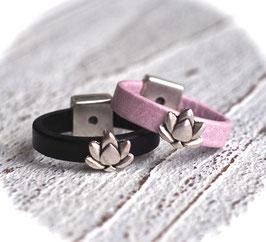 Lederring Lotusblume in rosa