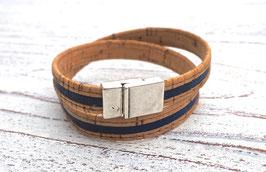 Wickelarmband vegan aus Kork mit 2-farbigem Korkband in beige und dunkelblau