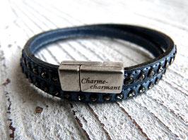 Wickelarmband Leder graublau mit Strasssteinen und Zamak Magnetverschluss