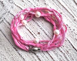 Seidenarmband mit Süßwasserperlen rosa